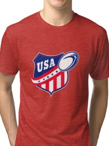 USA American rugby ball and shield Tri-blend T-Shirt
