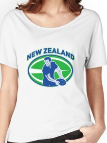 rugby player running passing ball new zealand Women's Relaxed Fit T-Shirt