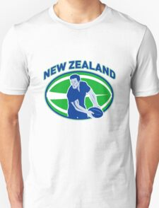 rugby player running passing ball new zealand Unisex T-Shirt