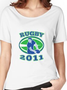 rugby player running passing ball 2011 Women's Relaxed Fit T-Shirt