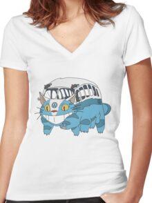 VW catbus Women's Fitted V-Neck T-Shirt