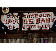 Commonwealth Savings Bank Of Australia Sign Photographic Print