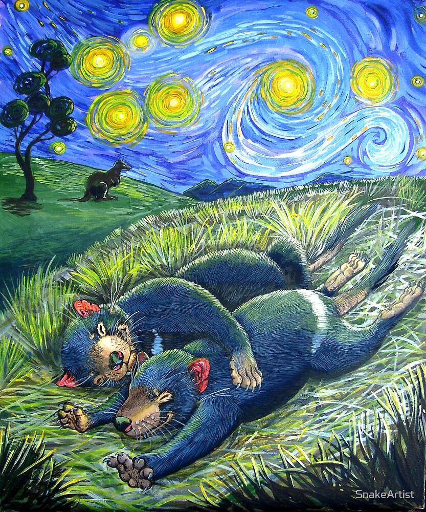 Spooning devils under a starry night sky by SnakeArtist