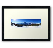 Lake Louise Mid Mountain Panorama Framed Print