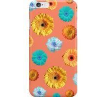Summery Flowers on Cadmium Orange Background iPhone Case/Skin