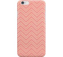 Coral Pink & Faux Gold Zigzag Chevron Pattern iPhone Case/Skin