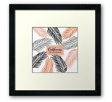 """Californita, City of Dreams"" Coral and Palm Frond Framed Print"