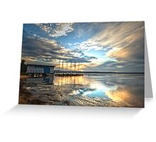 Sunset at the boatshed Greeting Card