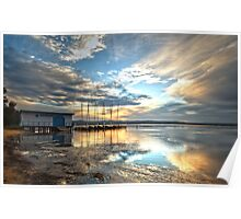 Sunset at the boatshed Poster