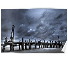 LYTHAM OLD PIER APPROACHING STORM Poster