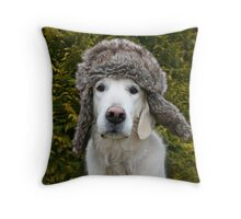 Ditte with my warm winter hat Throw Pillow