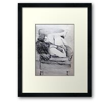 Woman in Chair - Drawing Framed Print