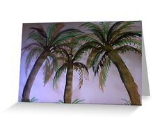 3 palm Trees , watercolor Greeting Card