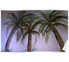 3 palm Trees , watercolor Poster