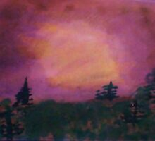 Pine trees in lavender sunset,Beautifully done, watercolor by Anna  Lewis, blind artist