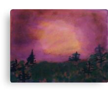 Pine trees in lavender sunset,Beautifully done, watercolor Canvas Print