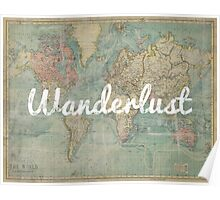 wanderlust on vintage map Poster