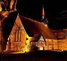 ST PETER'S SALESBURY, NIGHT TIME VIEW. by Phil  WEBB
