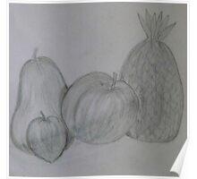 Pencil Drawing Fruit Stillife Poster