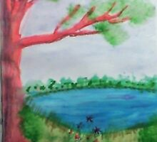 Big Tree beside  Pond,with Flowers , Watercolor by Anna  Lewis, blind artist