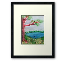 Big Tree beside  Pond,with Flowers , Watercolor Framed Print