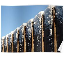 Snow topped fence Poster