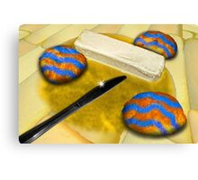 Melted Margerine and Three Blue Stiped Biscuits Canvas Print