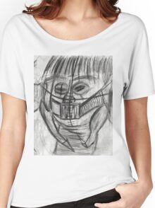 Caged Face with Piano Keys teeth and Mandibles with Creature hanging on face and Sheep  Women's Relaxed Fit T-Shirt