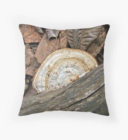 Shelf Fungus (Basidiomycota) on Log Throw Pillow