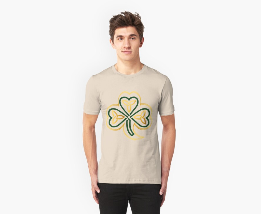 Celtic Shamrock In Green and Gold  by Lotacats