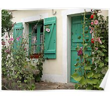 Pretty shuttered window - Ile Houat, France Poster