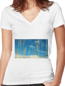 Wheat In The Sky Women's Fitted V-Neck T-Shirt