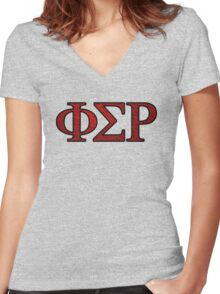 Phi Sigma Rho Rose Letters Women's Fitted V-Neck T-Shirt