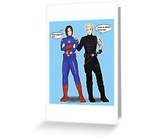 Steve/Bucky costume switch-up Greeting Card