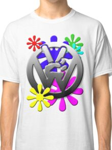 VW Peace hand sign with flowers Classic T-Shirt