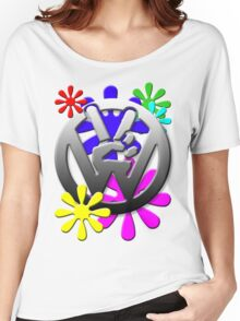 VW Peace hand sign with flowers Women's Relaxed Fit T-Shirt