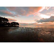 Nudgee Beach Sunrise At Low Tide. Brisbane, Qld, Australia. Photographic Print