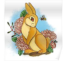 Rabbit and Flowers Poster