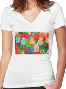 Gummy Bear Candy Women's Fitted V-Neck T-Shirt