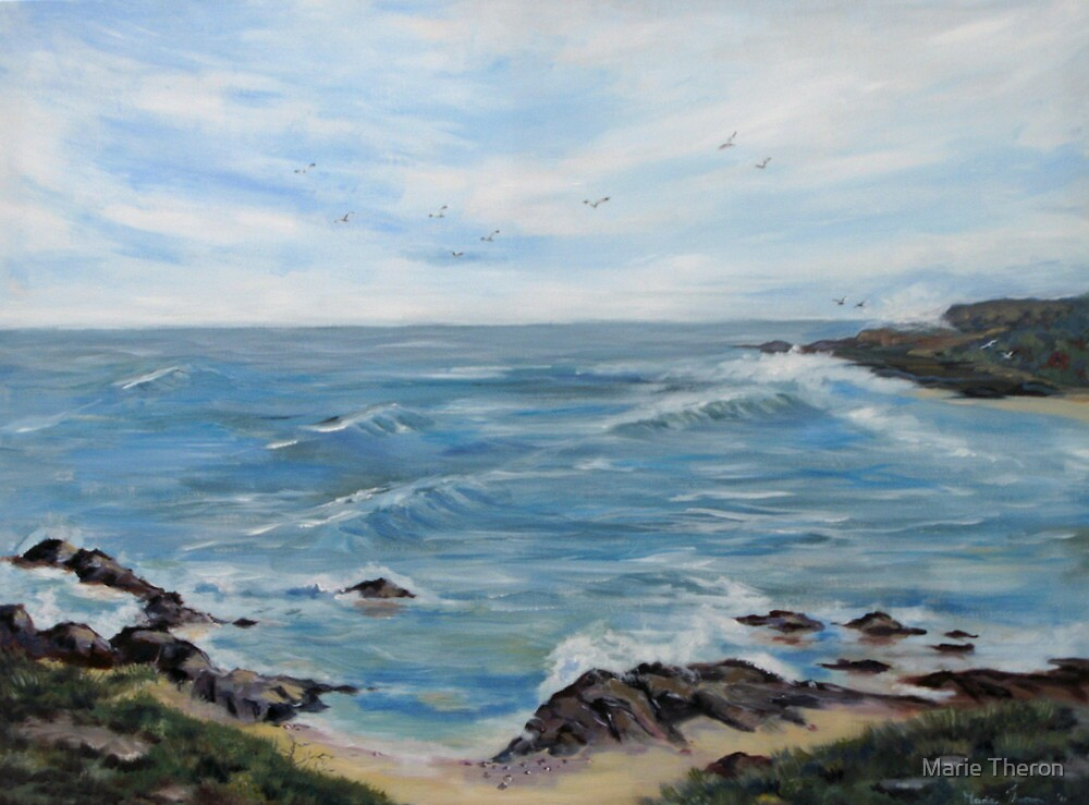 Large Acrylic Oceanscape by Marie Theron