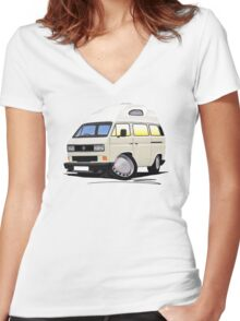 VW T25 / T3 [SQ] (High Top) White Women's Fitted V-Neck T-Shirt