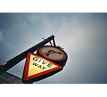 Tourist - London - Give Way, sign over night falling sky Photographic Print