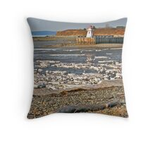 Belliveau Cove Lighthouse in Winter Throw Pillow