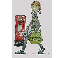 Girl and red post box  Photographic Print