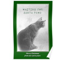 Christmas Pet Greeting Card - Waiting For Santa Paws Poster