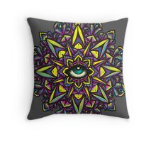 Dharma Wheel Neon Mandala Throw Pillow