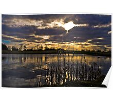 Sunset over the Pond Poster