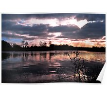 Sunset over the Pond take 2 Poster
