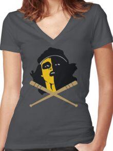 Baseball Furies Skull & Crossbones Women's Fitted V-Neck T-Shirt