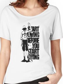 One Piece Start Living Before You Start Dying Portgas D. Ace Anime Cosplay Japan T Shirt Women's Relaxed Fit T-Shirt